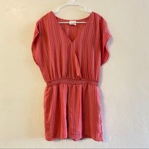 Harper Heritage Coral Striped Smocked Romper Large